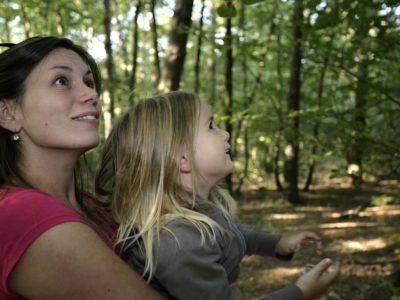 Photo de balade en famille en forêt
